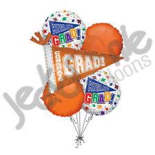 6 pc Graduation Balloon Bouquet Decoration #1 Grad Flag Orange Party Congrats