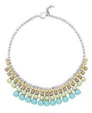NEW FOSSIL CRYSTALS,TURQUOISE,GREEN CUPCHAIN STATEMENT BIB NECKLACE-JA6344040