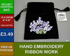 New Black Velvet Lavender Ribbon Embroidery Drawstring Bag Pouch Cotton  New B51
