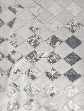 "DIAMOND CHECKERED SEQUINS MESH FABRIC - White/Silver - 54"" WIDE SOLD BY THE YARD"