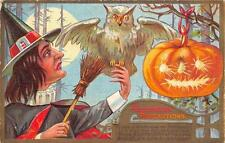 HALLOWEEN PRECAUTIONS WITH OWL JOL ZERCHER BOOK CO TOPEKA KANSAS POSTCARD (VAR)