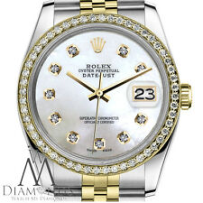 Women`s Rolex 26mm Datejust 2 Tone White MOP Mother Of Pearl with 8 + 2 Diamond