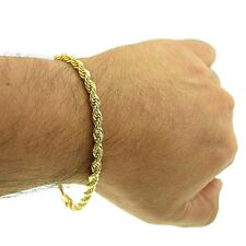 "Rope Bracelet 14k Gold Plated 9"" x 5 MM Mens Twisted Braided Hip Hop Wrist Chain"