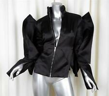 GARETH PUGH RICK OWENS OLMAR & MIRTA Black Satin POPE Arm Pleated Jacket XS NEW