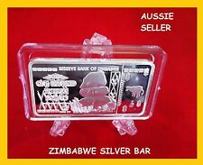 SILVER BAR ZIMBABWE BANKNOTE 100 TRILLION DOLLAR OF REAL CURRENCY 2008+ capsu