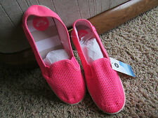 NEW ROXY PINK MESH SLIP ON SHOES WOMENS 9 MARINA SKIMMER FLATS  FREE SHIP