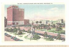 The Mall Showing Biltmore Hotel & Depot Providence RI  White Edge Postcard 669