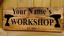 PERSONALISED NAME Shed Garage Workshop studio Door Sign Plaque Wood Fun Gift New