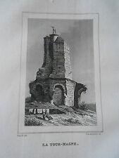 Gravure sur acier 1838 - La Tour de Magne Dpt du Gard