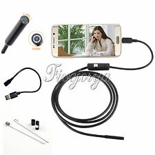 7mm Lens 6LED Android Phone Endoscope IP67 USB Borescope Tube Camera Snake 2m
