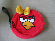 "Rovia Angry Bird Red Soft Plush Purse /DVD Carry Bag ,Strap,Zip Up Bag 7""Round"