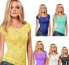 New Women Floral Lace Sexy Top Short Sleeve Blouse Crew Neck T-shirt M/L TIAU
