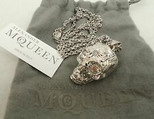 Alexander Mcqueen Silver Skull Swarovski Necklace -Boxed-UNISEX Perfect Gift