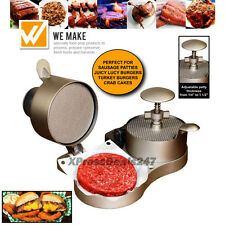 Dual Hamburger Patty Press Makes Real Bar & Grill Style BBQ Juicy Lucy Burgers