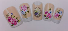 Roses Bouquet Floral Nail Art Water Decals Stickers For Natural/False Nails