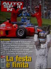 Autosprint 29 2000 GP Austria: incidente di Schumacher fa tremare la Ferrari