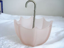 Vintage Fenton Pink Frosted Art Glass UMBRELLA Nut Candy Sweets Vanity Soap Dish