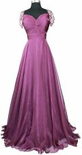 Women's Formal Cap sleeves Rhinestones beaded Long Evening Gown prom dress $279