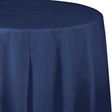 """82"""" Navy Blue Wedding Birthday Party Tableware Plastic Round Table Cover"""