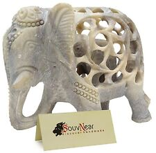 Handmade Soapstone Figurine Sculpture Mother Elephant with Baby Inside