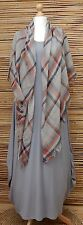 LAGENLOOK OVERSIZE*SILK*SQUARE SOFT HIGHLAND TARTAN FRAYED SCARF*GREY*SCARVES