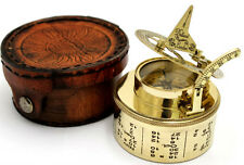 Brass Sundial Compass -Pocket BOX Sundial - DURM SUNDIAL with Leather Case