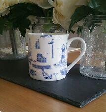 Taza De Porcelana China. Náutica Marina Mar decorado a mano en Gales (casi una pinta)