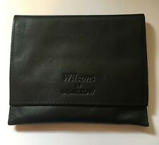 New Black Large Soft  Real Leather Roll Up Tobacco Pouch with Paper Slot