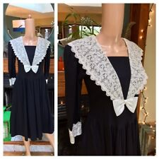 Vtg Lanz Goth Victorian Wednesday White Lace Bow Swing Cotton Dolly Dress S M