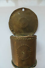 ANTIQUE BRASS OR COPPER MATCH STICK HOLDER OR ASHTRAY WALL MOUNT VERY OLD