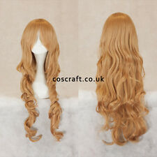80cm long wavy curly cosplay wig in caramel blonde, UK seller, Jeri style