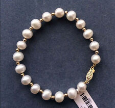 REAL NATURAL ROUND SOUTH SEA WHITE PEARL BRACELET 14k GOLD CLASP