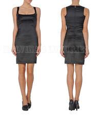 JUST CAVALLI BY ROBERTO CAVALLI DRESS BLACK SATIN FITTED SHIFT sz IT 44 US 8