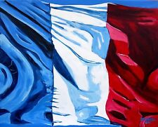 French FLAG Original Art PAINTING DAN BYL Paris Contemporary Modern Huge 4x5 ft