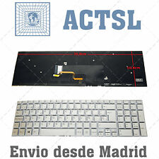 Keyboard Spanish for Sony Vaio SVF1521A1E Backlit Silver