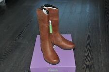 GIRLS CLARKS BROWN LEATHER LONG WINTER BOOTS SIZE INFANT 10 G BNIB