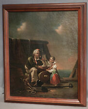 Antique Dutch Old master Flemish Oil Painting Genre Children Sailor Ships Model