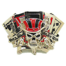 Casino Skull Poker Playing Cards Silver Metal Belt Buckle Men Western Cool Biker