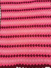 Vintage Handmade Afghan Throw Pink Stripes Diamond Acrylic