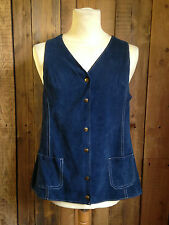 vtg SUEDE long LENGTH waistcoat GILLET tunic SIZE 12-14 western HIPPY gypsy VGC