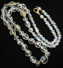 Vintage Mid Century Graduated Faceted AB Crystal Glass Bead Matinee Necklace 25""