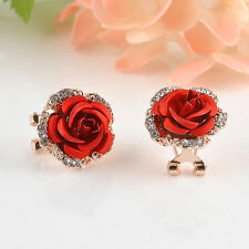 1 Pair Fashion Women Gold Plated Rose Flower Crystal Diamante Stud Earrings Gift