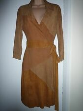 DVF DIANE VON FURSTENBERG WRAP DRESS GOATSKIN SUEDE LEATHER BROWN SELMA RRP £700