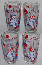 Set (4) Circus Themed BIG TOP PARADE 12 oz Colorful Graphics TUMBLERS