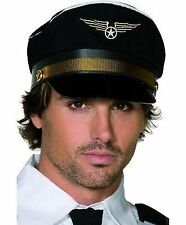 Adult Mens Black Pilots Airline Captain Cap Pilot Fancy Dress Costume Hat 31179