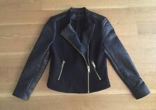 Zara Quilted Faux Leather Sleeves Motorcycle Biker Jacket Black Sz M