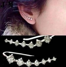 New Punk Rock Rhinestone ear cuff wrap earring Silver piercing ear cartilage