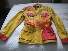 RARE LADIES BELSTAFF YELLOW, ORANGE & RED LEATHER TRIAL MASTER JACKET (SIZE 40)