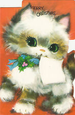 Vintage Retro Kitsch Cat 1970s Merry Christmas Greeting Card & Envelope ~