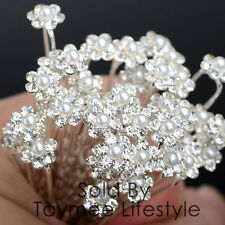 Bridal Hair Accessories wedding Bobbin Pin Clips Pearls Crystal Clip-in  20pcs
